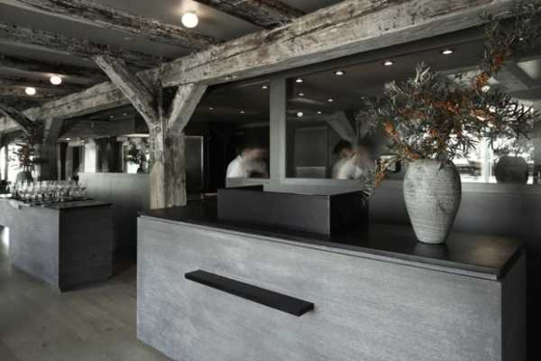 wooden beams and posts with dining room decorating in gray color