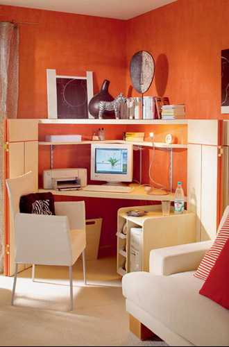 Orange Paint For Small Home Office Design With Light Wood Office Furniture  And White Chair