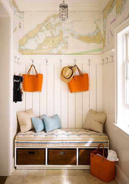 entryway design and decorating with bench