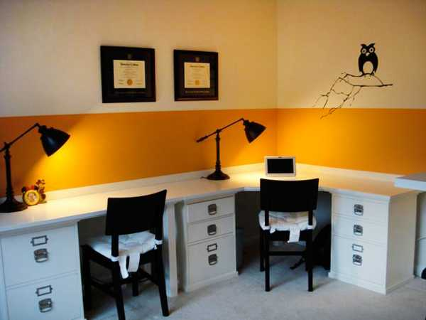 Office color Yellow You Will Love The Transformation Changing Your Office Interior Into Room Filled With Positive Energy And Beautiful Color Lushome 30 Office Design Ideas Bringing Optimism With Orange Color