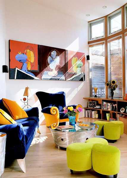 16 Funky Interior Design Ideas: 16 Ideas Bringing Bright Room Colors Into Modern Interior