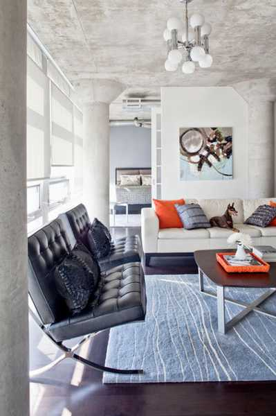 Orange And Gray Color Scheme For Modern Living Room Design And Decorating