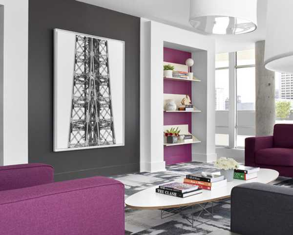 Purplish Pink And Gray Color Accents In Modern Living Room, Pink And Gray  Accent Wall Design And Furniture In Purplish Pink And Gray Color Shades