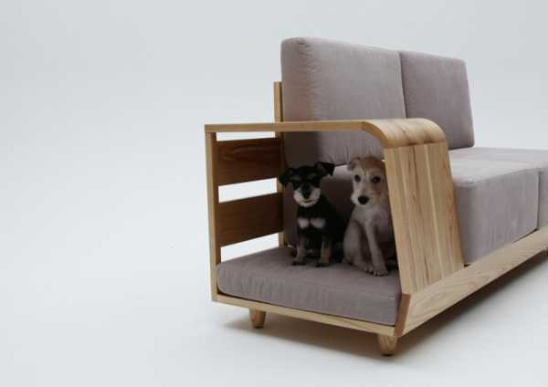 indoor dog house design incorporated into sofa