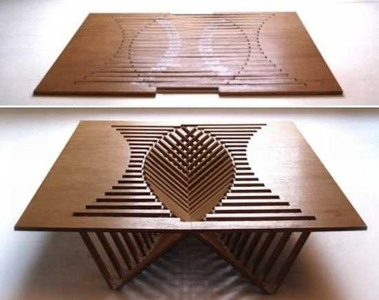 Unique Furniture Design Idea For Unusual Decorating Folding Table Top Made Of Wood