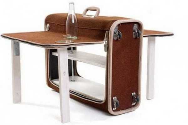Suitcase Shaped Folding Table Unique Furniture Design Idea
