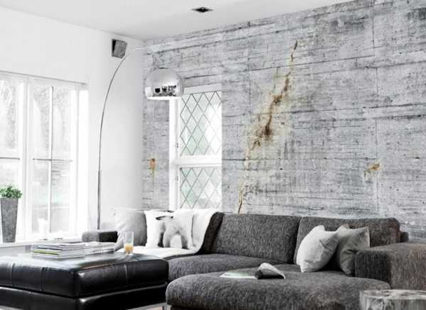 Concrete Wallpaper Patterns For Modern Interior Decorating Kitchen Wall In Gray Color