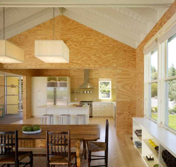 plywood walls for dining area and kitchen design