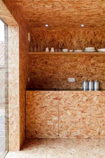 plywood wall design and shelves