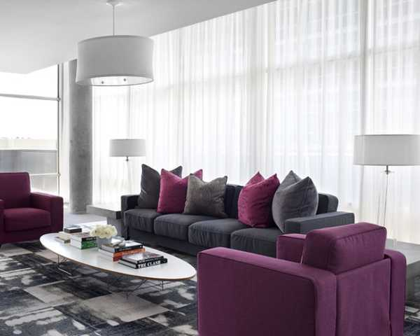 Purple And Gray Color Combination For Interior Design With White Ceiling Wall Paint Modern Trends 2017
