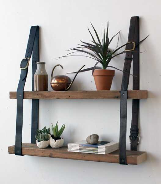 leather belts for hanging wood shelves