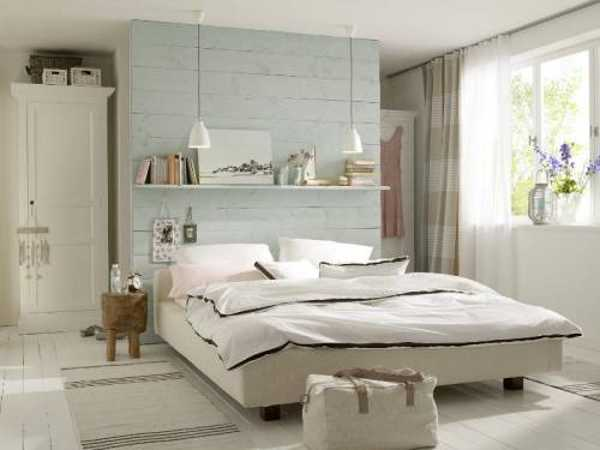 Small Bedroom Design With Wall Shelves, Interior Decorating With Light And  Neutral Color Shades