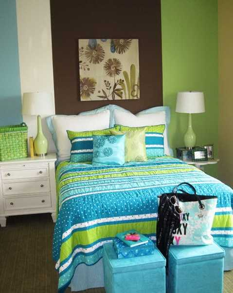 Blue And Green Bedding Set, White Bedroom Furniture And Green Wall