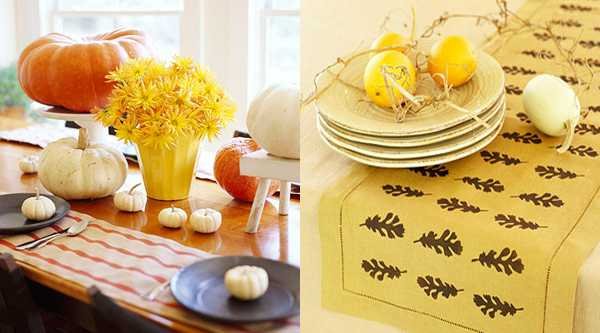 yellow table runner with oak leaves for thanksgiving table decorating