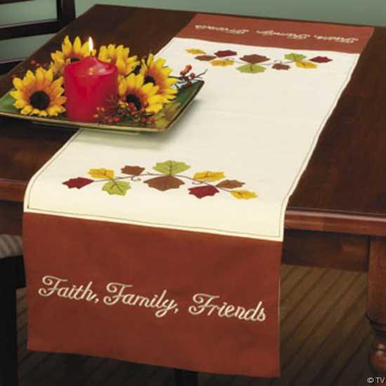 sunflower arrangement and table runner for thanksgiving table decorating