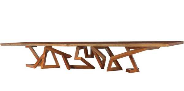 coffee table with zigzag base