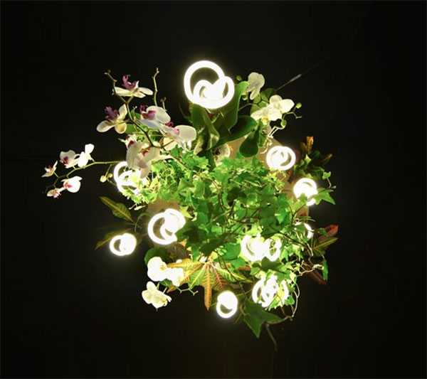 modern chandelier with plants