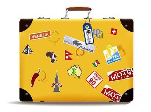 bright yellow suitcase with colorful designs