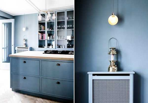 Blue Wall Paint And Wood Kitchen Cabinets Br Ings Lighting Fixtures Modern Design