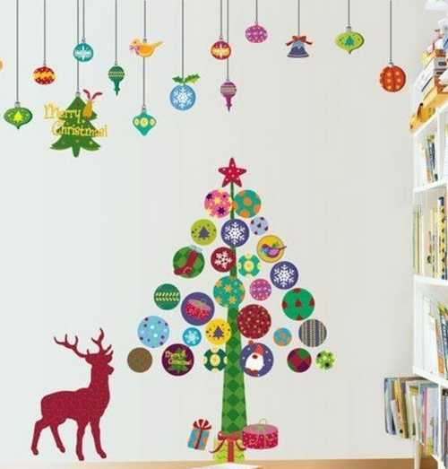 christmas tree and deer wall stickers for kids room decorating simple christmas decoration ideas