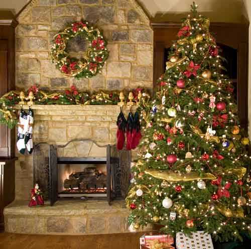 traditional christmas decorating ideas fireplace with christmas wreath and garland and christmas tree decoration with lights