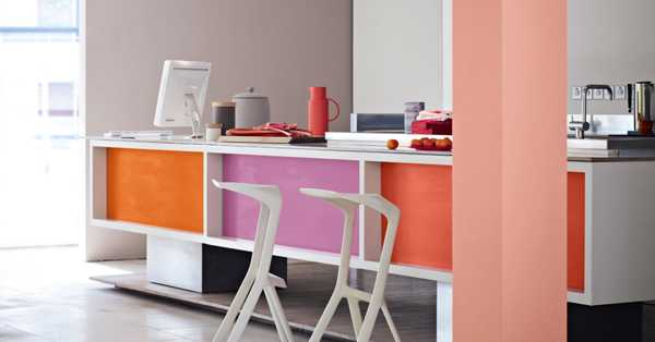 painting kitchen cabinets orange and purple colors