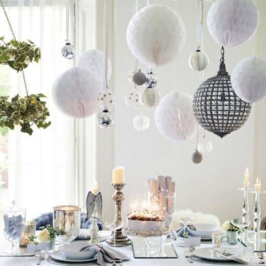 White Christmas Decorating Ideas, Holiday Party Table Decor And Ceiling  Decorating With Green And Black Accents