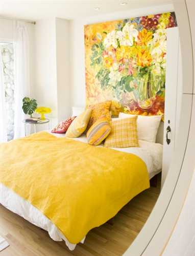 Small Bedroom Decorating In Yellow Colors, Bright Yellow Bedding And Floral  Wall Artwork