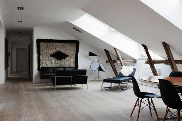 Modern Loft Design In Scandinavian Style With Exposed Beams ...