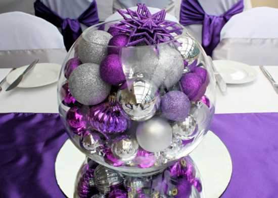 white and purple table decorations centerpieces for christmas or new years eve party - Purple And Silver Christmas Decorations