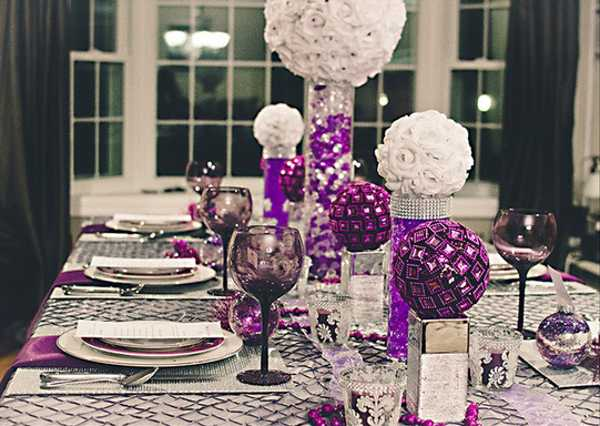 white and purple table decorations centerpieces for christmas or new years eve party