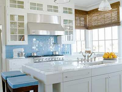 classic kitchen design with blue tile backsplash