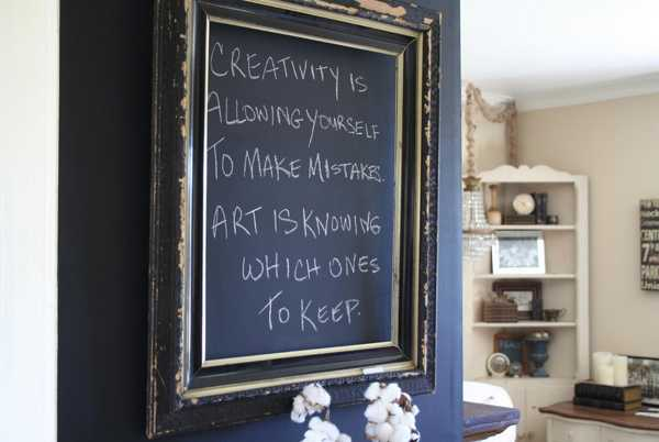 blackboard in carved wood frame for wall decoration