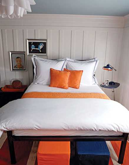 White Orange And Dark Blue Color Scheme For Small Bedroom Design