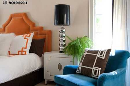 blue chair, orange bed headboard, black and white bedroom decorating ideas