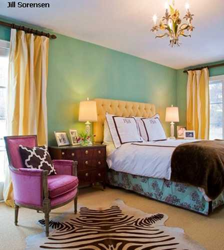 Bright Bedroom Colors Light Blue Wall Paint Yellow Curtains And Bed Headboard Upholstery Brown Comforter Purple Chair Fabric
