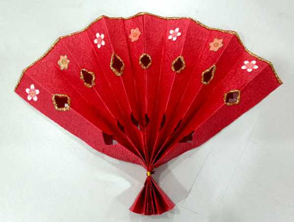 paper crafts for kids, red fan
