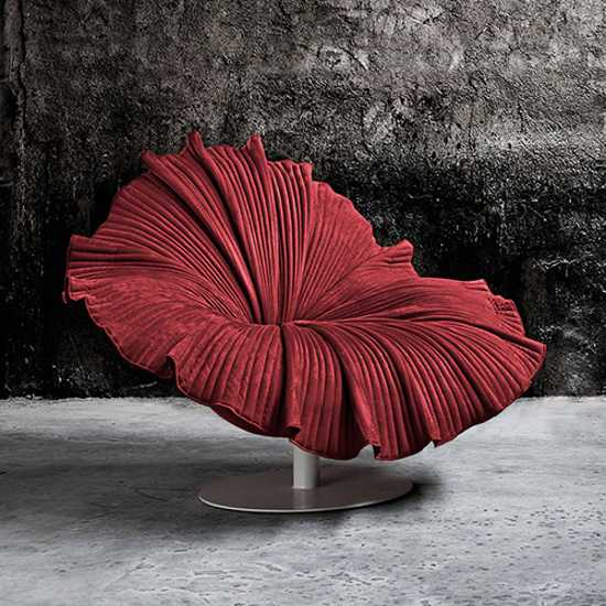 unique furniture design, red chair inspired by flower