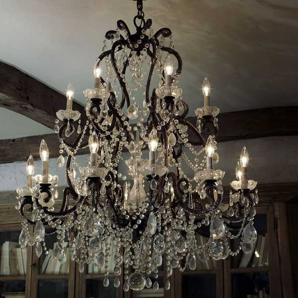 Gorgeous Wrought Iron Chandelier With Crystals, Stylish Interior Decorating  Ideas