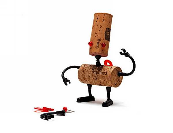 robot made of two bottle corks