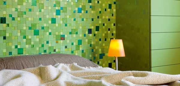 Attirant Green Leather Tiles For Luxurious Bedroom Wall Design