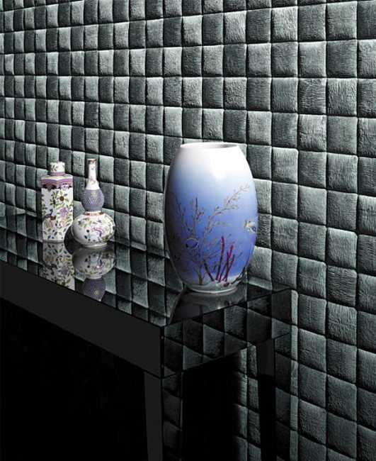 black leather tiles for modern wall design