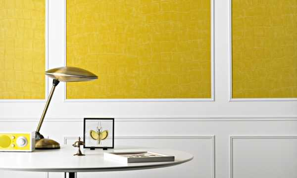 yellow paint and wallpaper for wall decoration