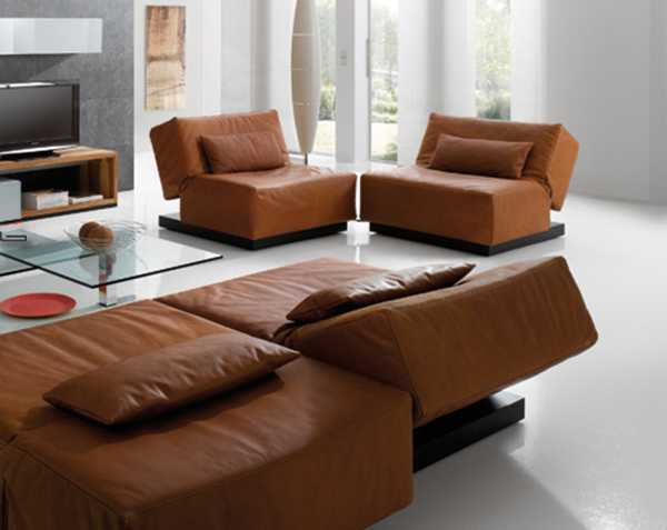 contemporary living room furniture, leather chairs in brown color