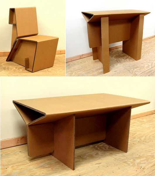 Contemporary Furniture Collection Created With Recycled Cardboard, Desks,  Tables And Chairs