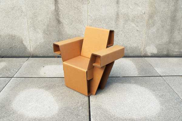 cardboard chair for outdoor rooms and interior decorating