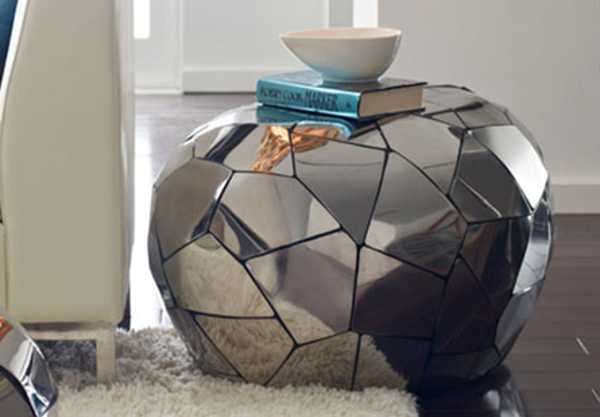 coffee table with metal mosaic tiles