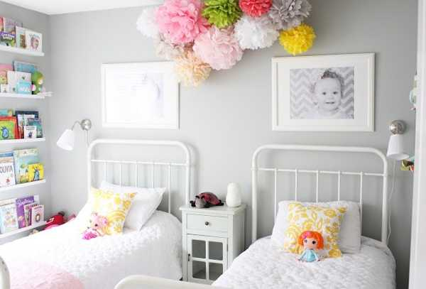 White Decorating Ideas With Colorful Accents Two Children Bedroom Decor