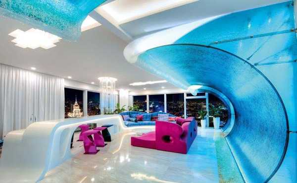penthouse design with glass wall design inspired by wave