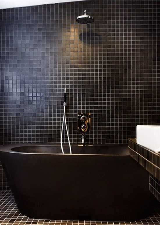 Simple Bathroom Inspiration  Green Tile Dark Wood Marble Black Frames